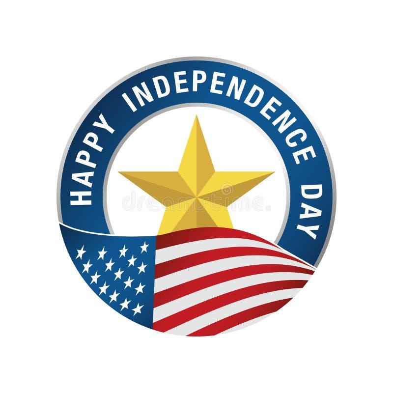 4to del icono de la celebración de julio Día de la Independencia feliz ilustración del vector