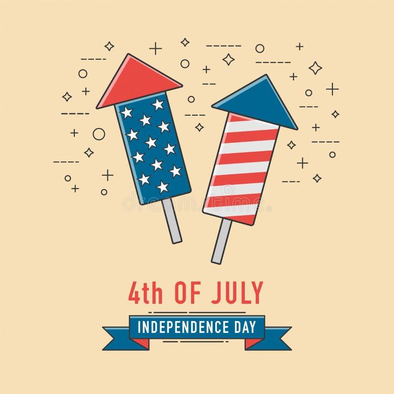 4to del icono del fuego artificial de la celebración de julio Día de la Independencia americano ilustración del vector