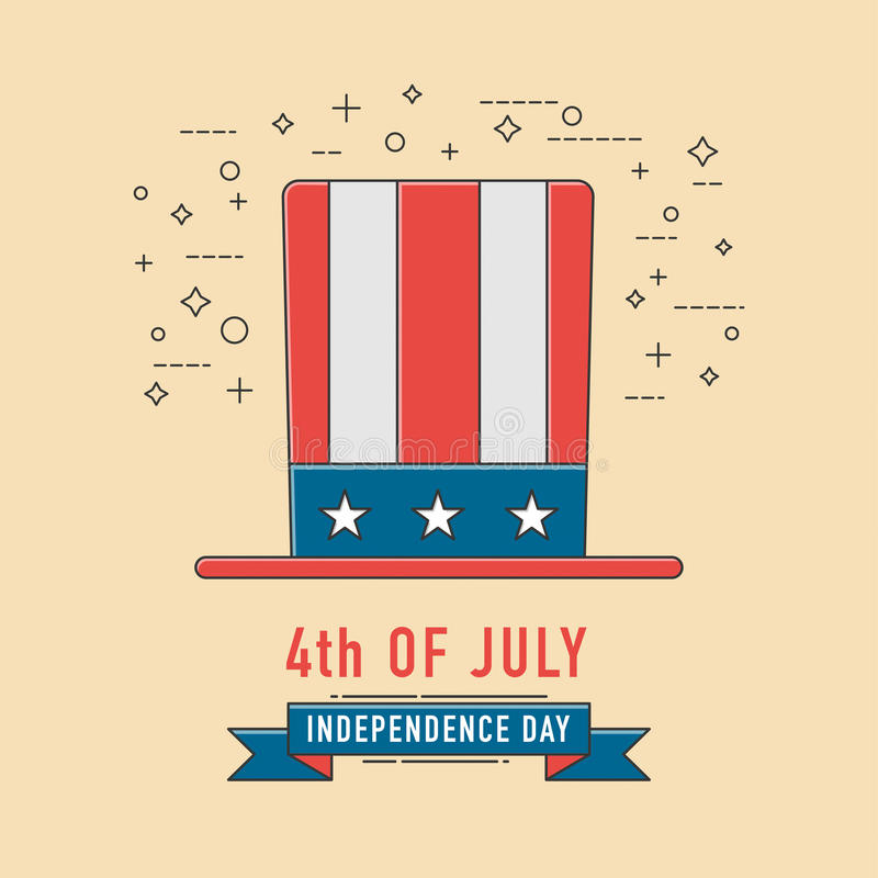 4to del icono del patriotichat de la celebración de julio Independencia americana stock de ilustración