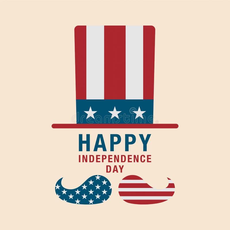 4to del icono patriótico del sombrero del sombrero de la celebración de julio Americano Indepen ilustración del vector