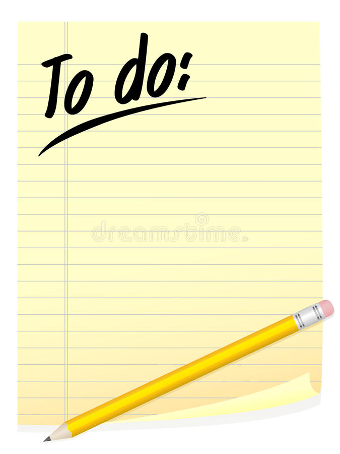 To Do List. An illustration of a to do list and pencil vector illustration