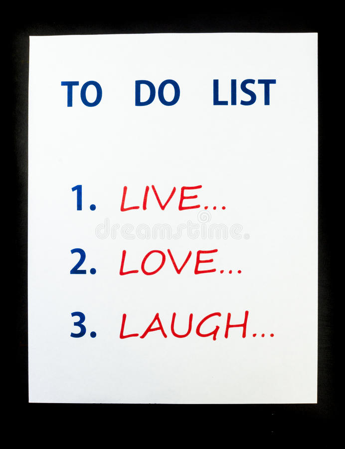 To Do List. To Live, Love, Laugh on black background royalty free stock image