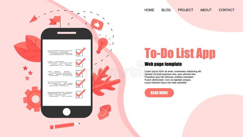 To-Do list apps. Task manager concepts. Online action plan concept. Business, time management vector illustration