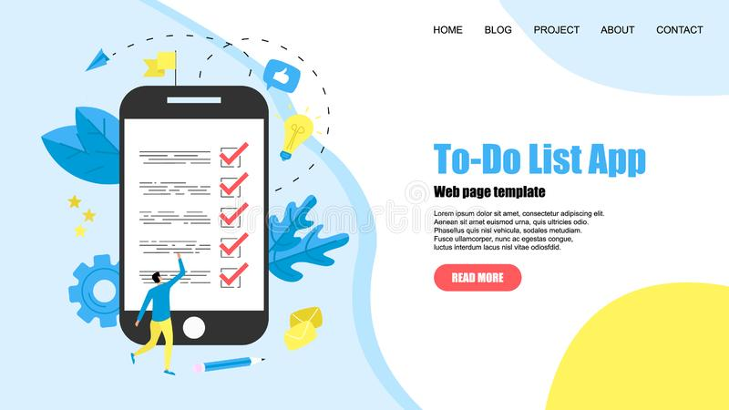 To-Do list apps. Task manager concepts. Online action plan concept. Business, time management royalty free illustration
