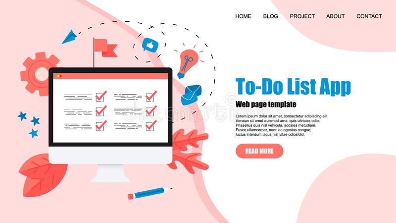 To-Do list apps. Task manager concepts. Online action plan concept. Business, time management stock illustration