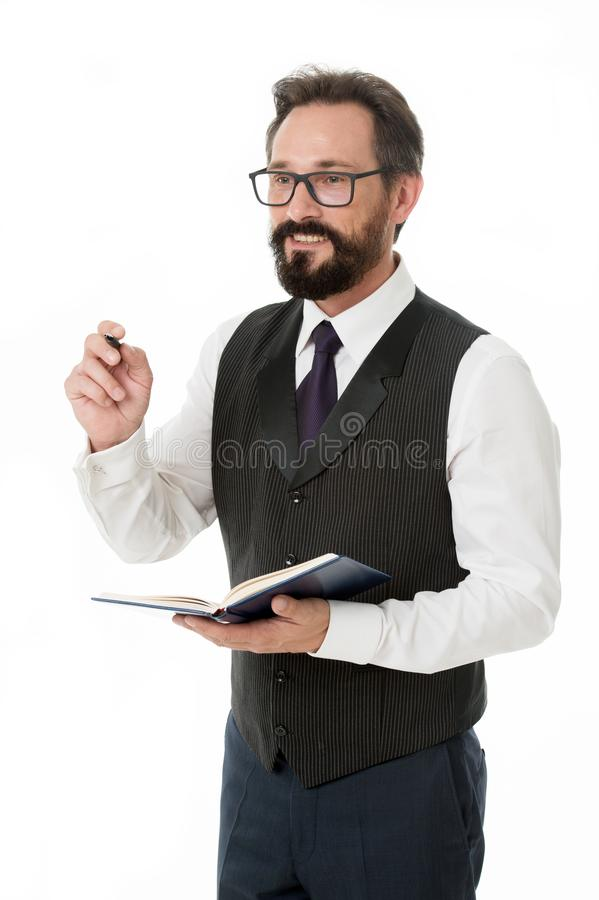 To do list. Businessman planning business schedule with notepad. Time management and organizing skill. Man bearded. Manager create plan. Successful businessman royalty free stock photography