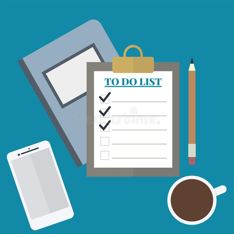 TO Do LIST, coffee, smartphone, notebook and pencil. Flat vector illustration royalty free stock image