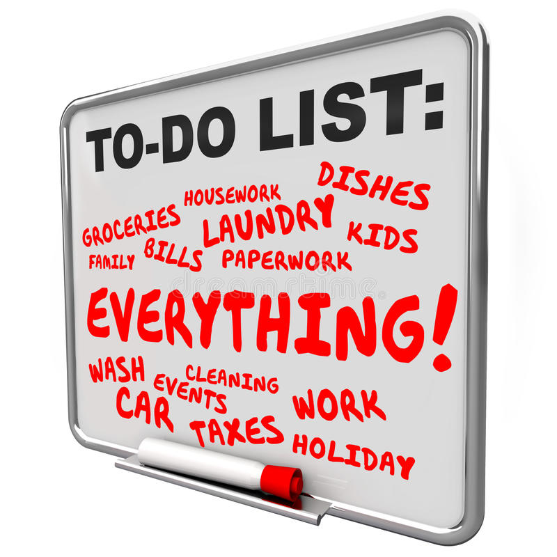 To Do List Everything Message Board Jobs Tasks Chores royalty free illustration