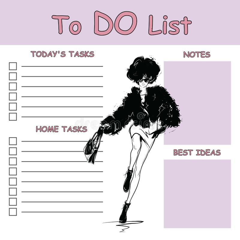 To do list with fashion woman. Vector illustration royalty free illustration