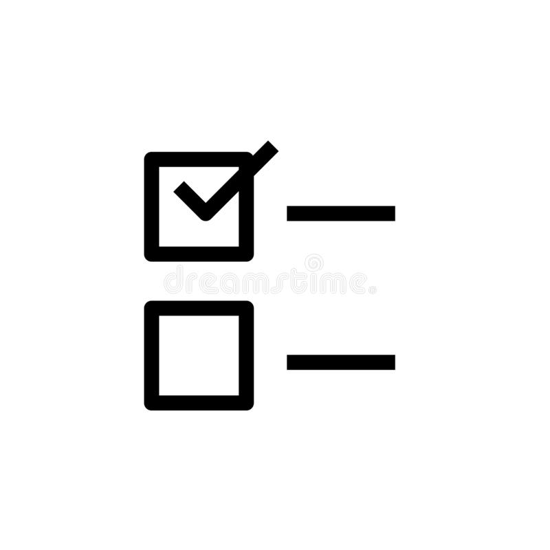To do list icon design. two check box with check mark in first line symbol. simple clean line art professional business management vector illustration