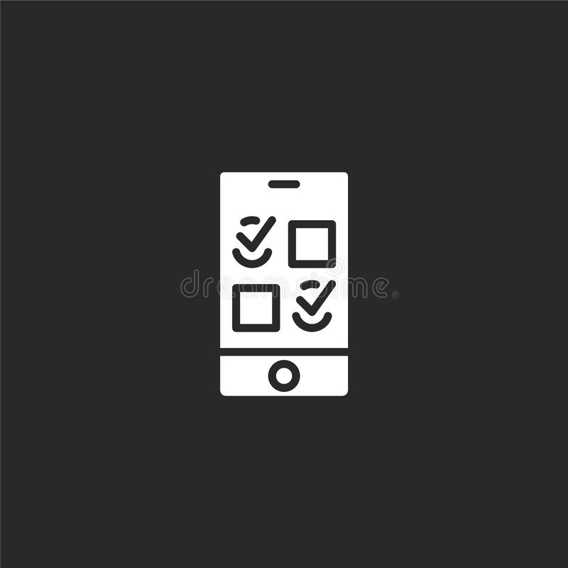 To do list icon. Filled to do list icon for website design and mobile, app development. to do list icon from filled ui mobile. Collection isolated on black vector illustration