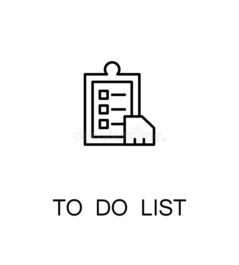 To do list icon. Single high quality outline symbol for web design or mobile app. Thin line sign for design logo. Black outline pictogram on white background stock illustration
