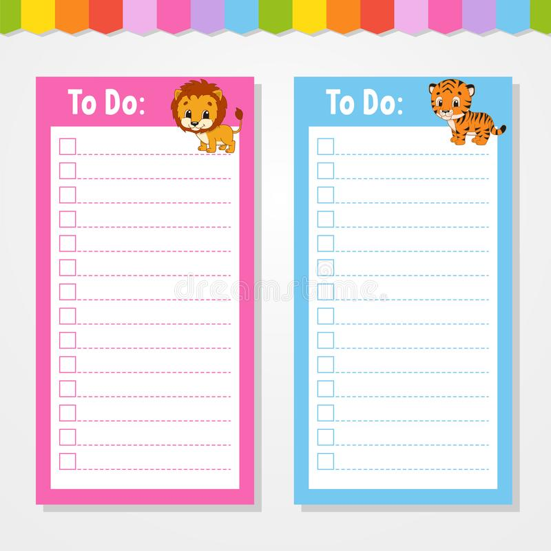 To do list for kids. Empty template. Isolated color vector illustration. Funny character. Cartoon style. For the diary, notebook,. Bookmark, page, letter, paper royalty free illustration