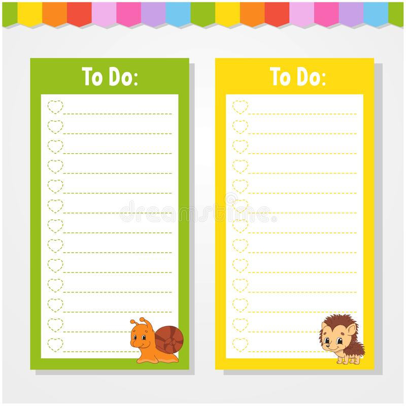 To do list for kids. Empty template. Isolated color vector illustration. Funny character. Cartoon style. For the diary, notebook,. Bookmark, page, letter stock illustration