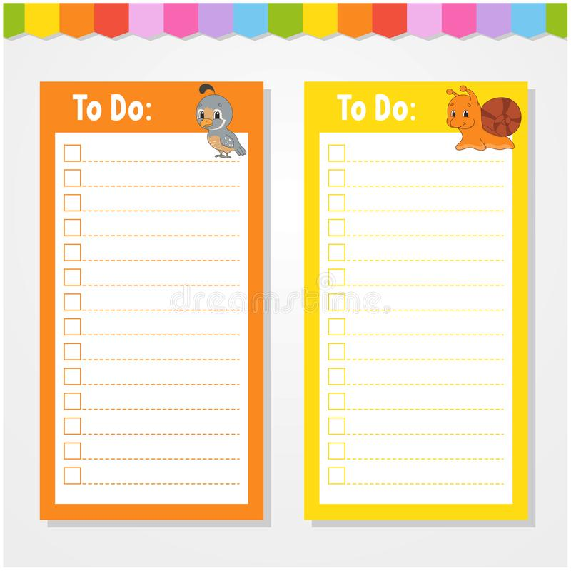 To do list for kids. Empty template. Isolated color vector illustration. Funny character. Cartoon style. For the diary, notebook,. Bookmark, page, letter, paper vector illustration