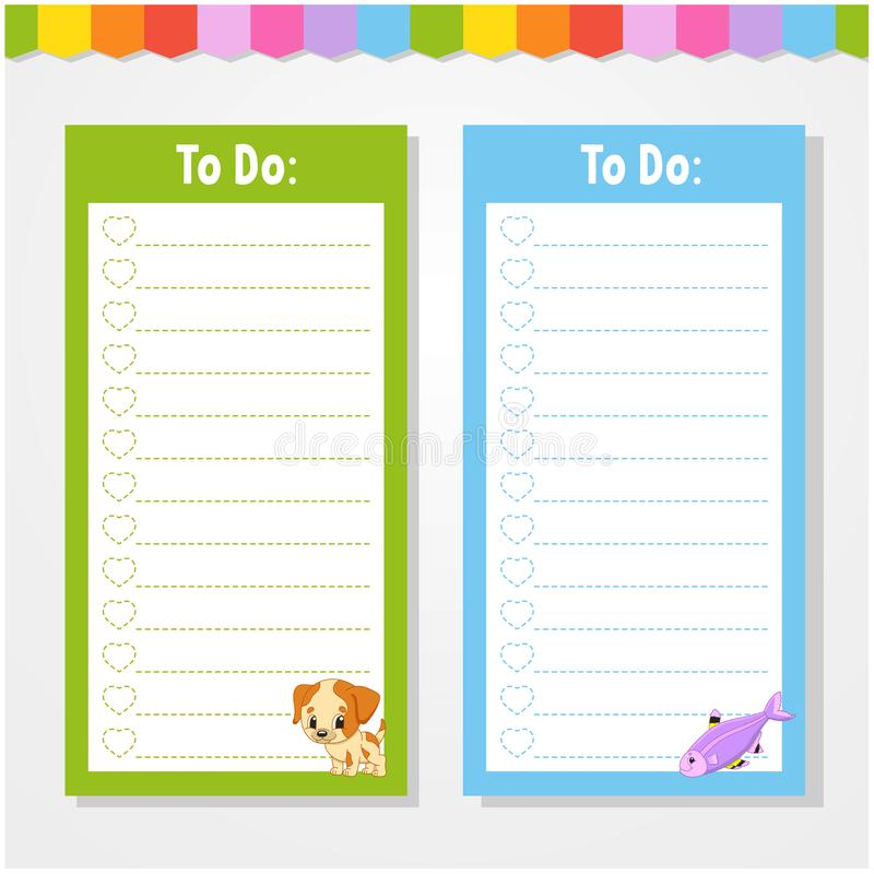 To do list for kids. Empty template. Isolated color vector illustration. Funny character. Cartoon style. For the diary, notebook,. Bookmark, page, letter, paper stock illustration