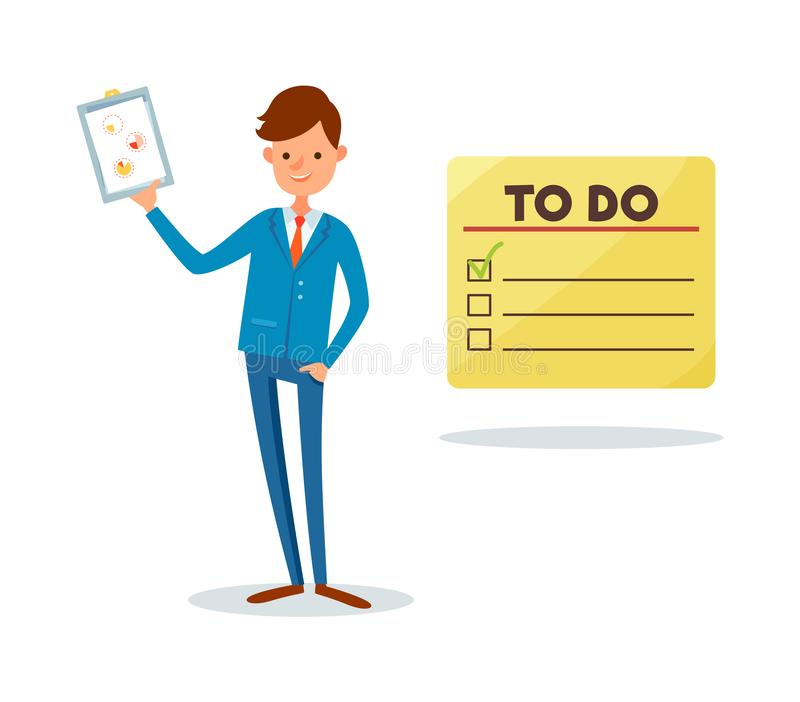 To Do List, Man Showing Clipboard Page with Chart royalty free illustration