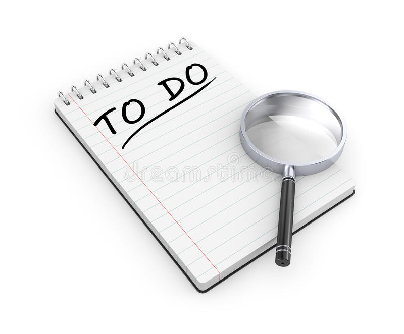 To do list. Notepad with magnify glass royalty free illustration