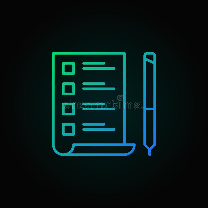 To Do List with pen vector colored icon in thin line style royalty free illustration