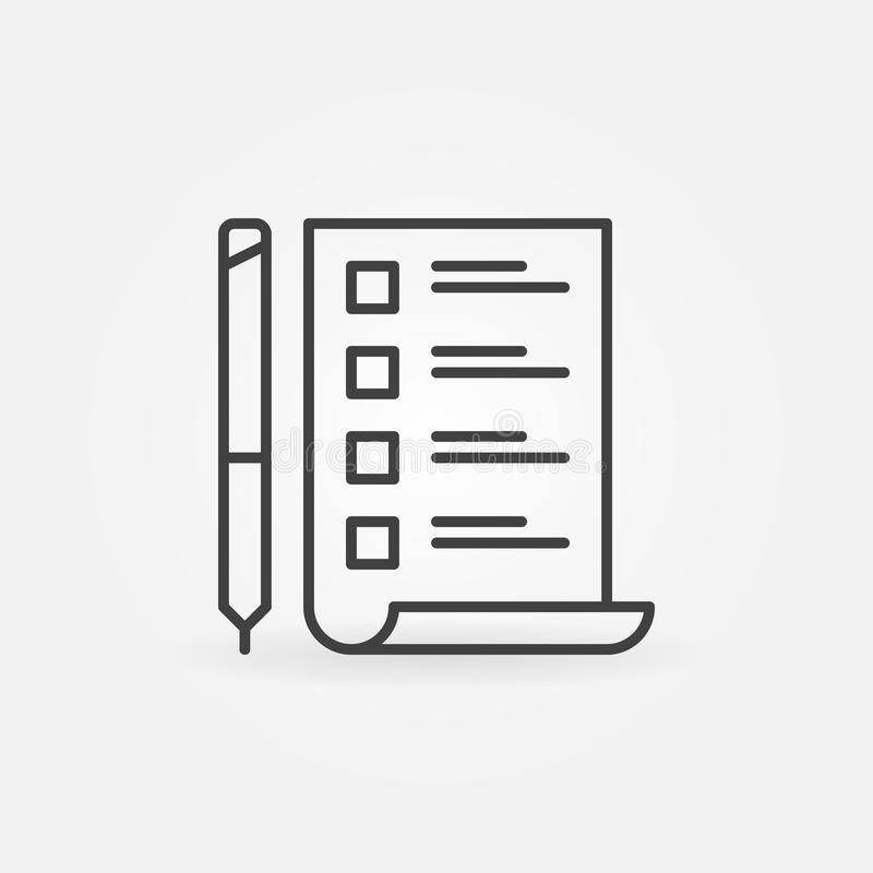 To Do List with pen vector minimal icon in thin line style royalty free illustration