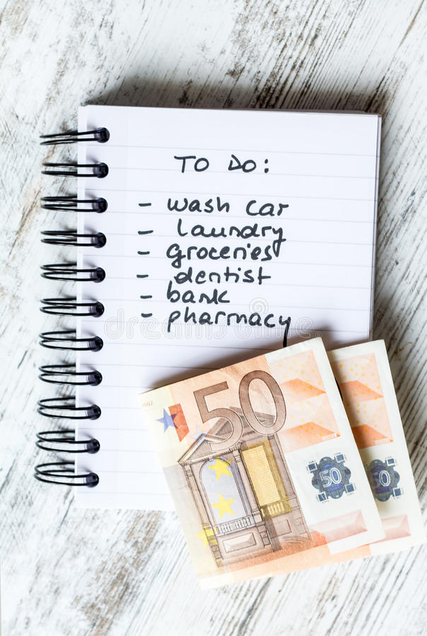 To do list. Ready for go shooping stock photo