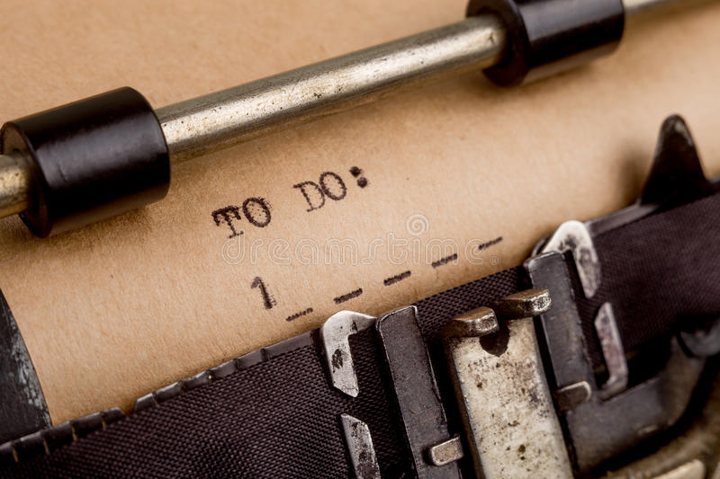 To do list typed on the typewriter. To do list typed on the vintage typewriter stock photo