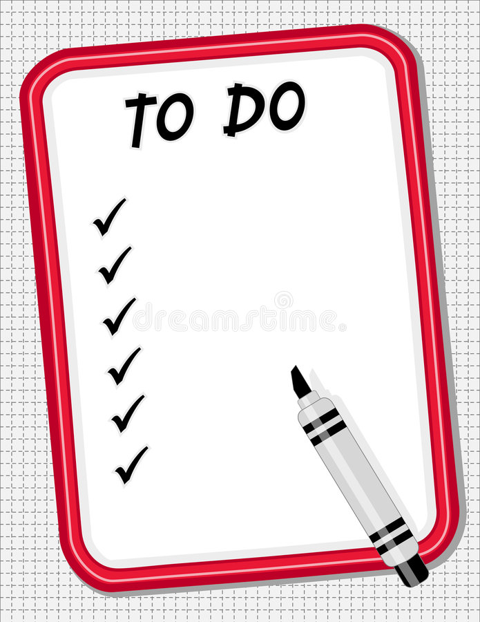 To Do List White Board & Marker. Copy space for your own list on this red frame dry erase white board with marker pen for home, office or school. EPS organized stock illustration