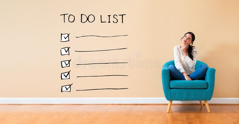 To do list with woman in a thoughtful pose vector illustration