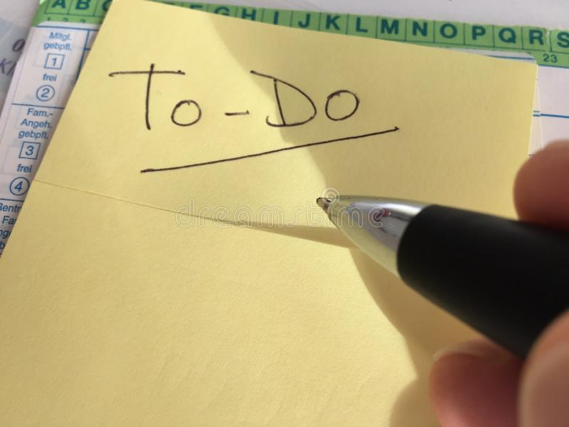 To-do post it note stock photography