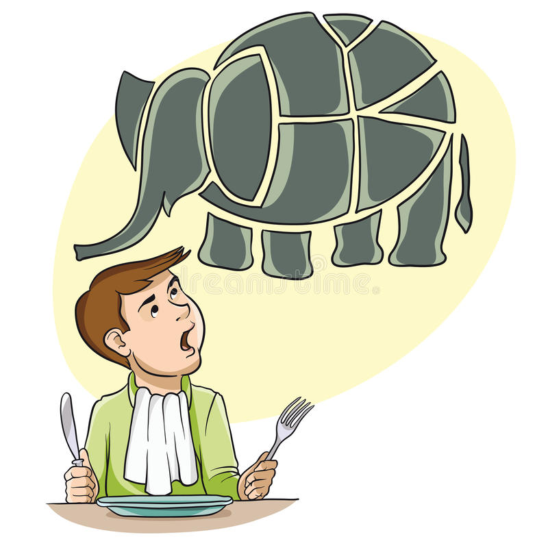 To eat an elephant. The man at the dinner table with knife and fork in his hands. He imagines an elephant which it is necessary to eat stock illustration
