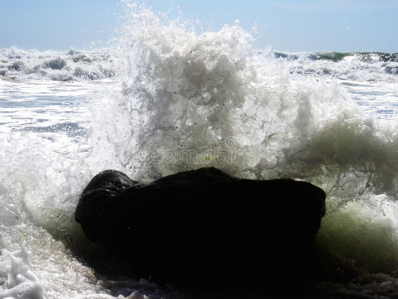 To feel the power of the waves stock image