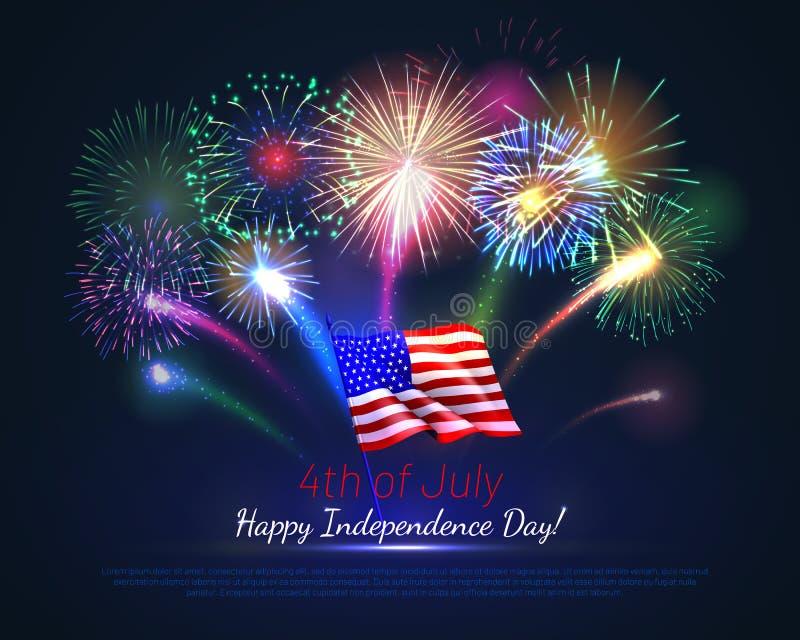 4to feliz del D?a de la Independencia de julio los E.E.U.U. stock de ilustración