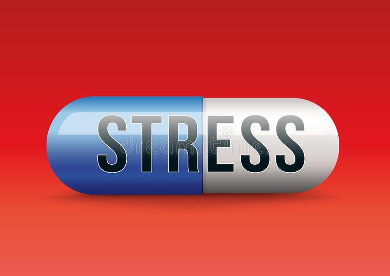 To fight against the stress in an artificial way with a capsule symbolizing the magic cure to the anguish. royalty free illustration
