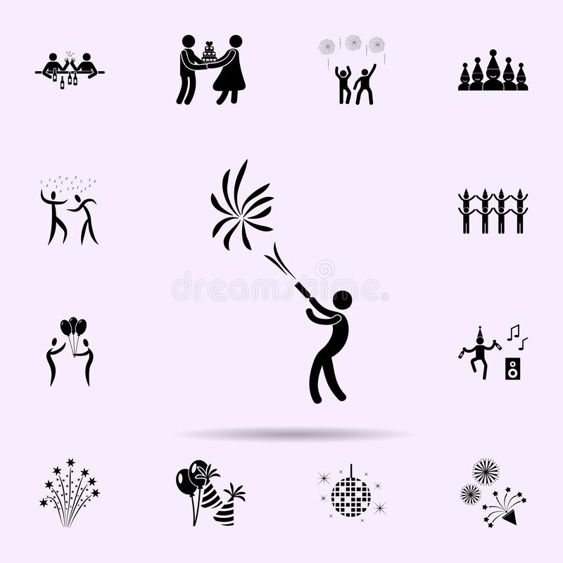 To fire firework icon. Party icons universal set for web and mobile. On color background stock illustration
