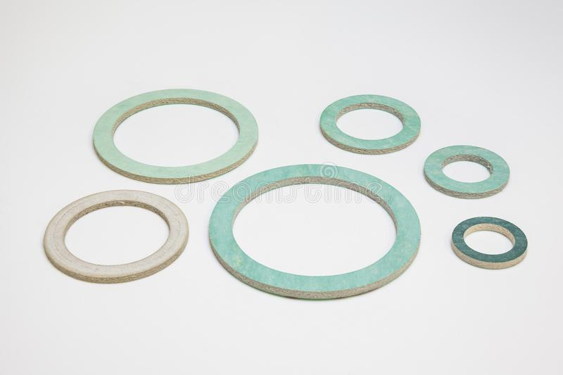 An group of gasket. From 3/8` to 6/4` gasket on white background stock photos