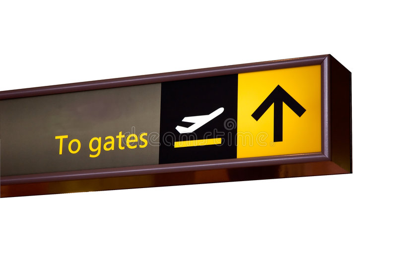 To gates sign. Photographed at an airport now isolated on white royalty free stock image
