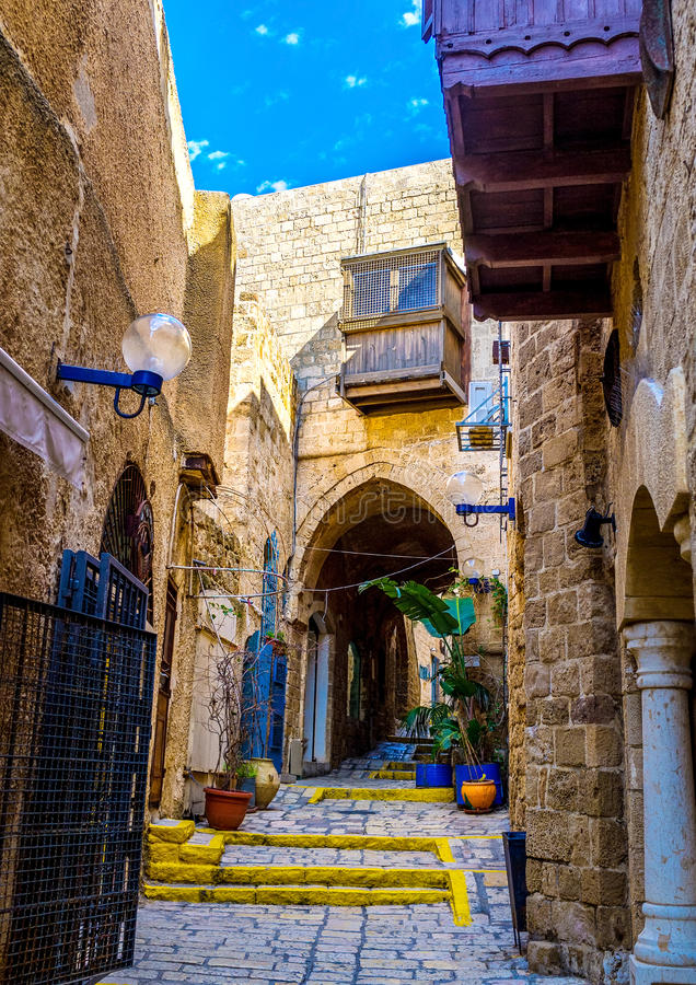 To get lost in Jaffa. The old stone streets of Jaffa are full of interesting places - museums, galleries, medieval mansions, Tel Aviv, Israel royalty free stock photography
