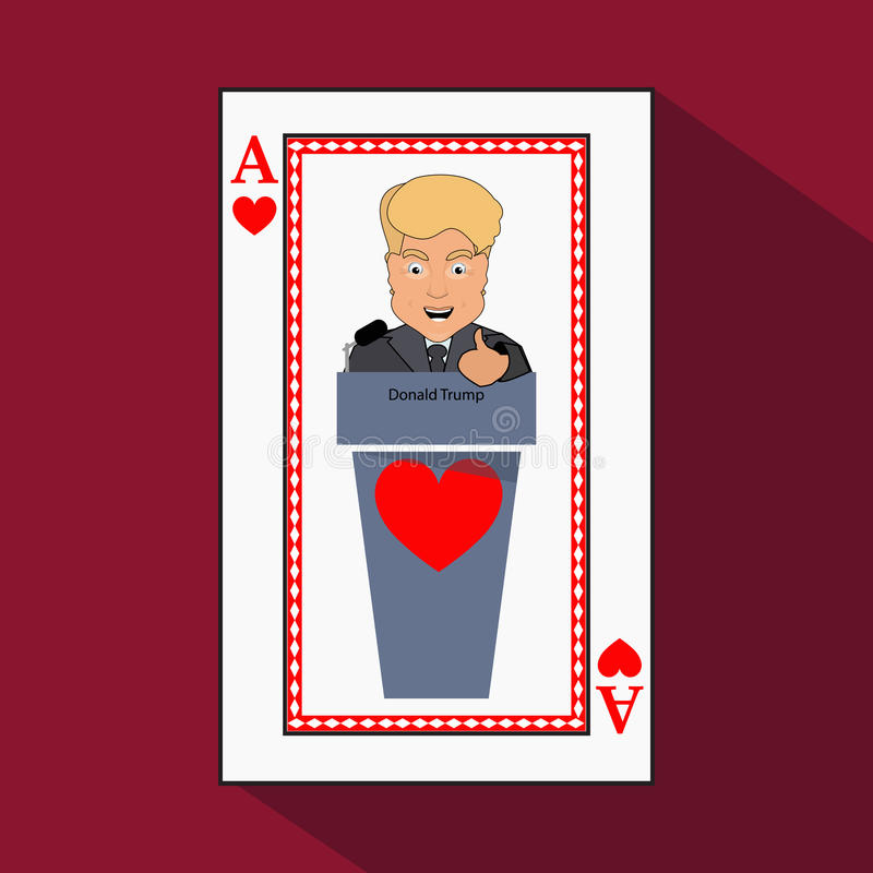To give Donald Trump an interview a tribune, speak in the microphone, propaganda, hand up. Card ace heart. vector illustration. To give to Donald Trump an stock illustration