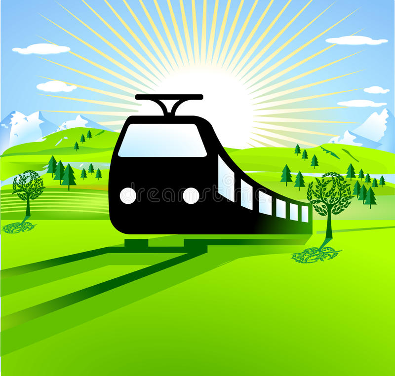 To go by train vector illustration