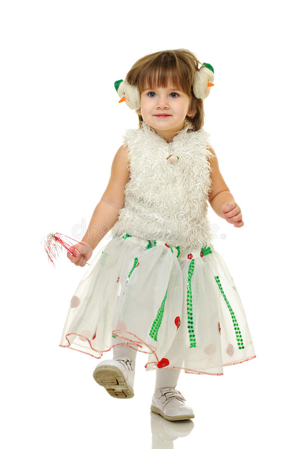 To holidays. Little girl in festive attire on white background royalty free stock photo