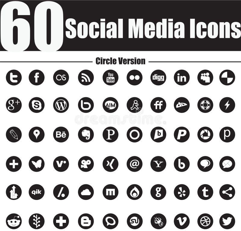 60 Ogólnospołecznych Medialnych ikon Okrążają wersję ilustracja wektor