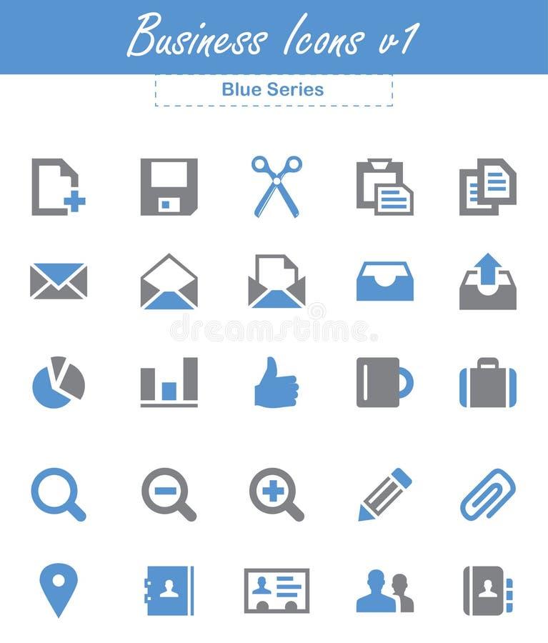 Biznesowe ikony v1 (Błękitne serie) ilustracja wektor