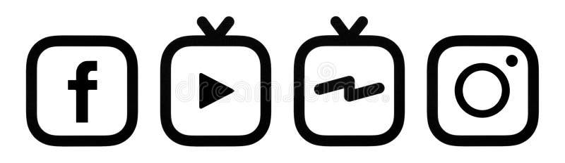 To jest fotografia Facebook, Instagram i Instagram IGTV logo drukujący na papierze, zdjęcia stock