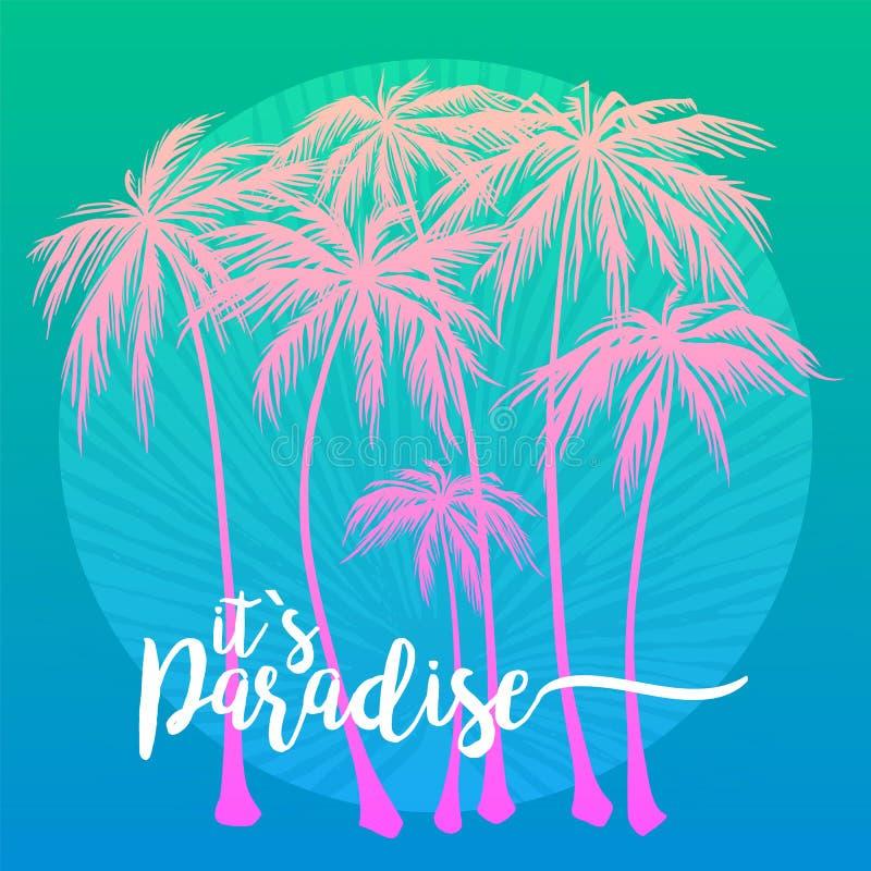 To jest raju plakat, set różowa drzewko palmowe sylwetka na błękitnym tle Wektorowa ilustracja, projekta element dla royalty ilustracja