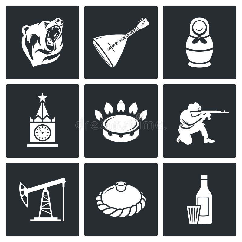 To jest Rosja Wektorowi ikony Ustawiający royalty ilustracja