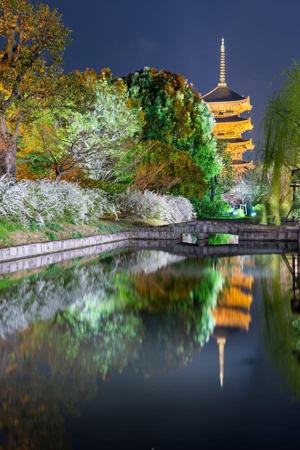 To-ji pagoda in the springtime in Kyoto, Japan royalty free stock photos
