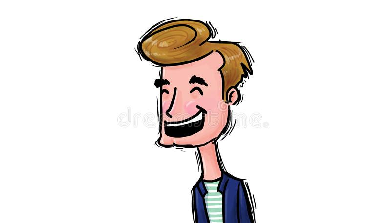 To laugh out loud illustration. Happy man laughing out loud, illustration stock illustration
