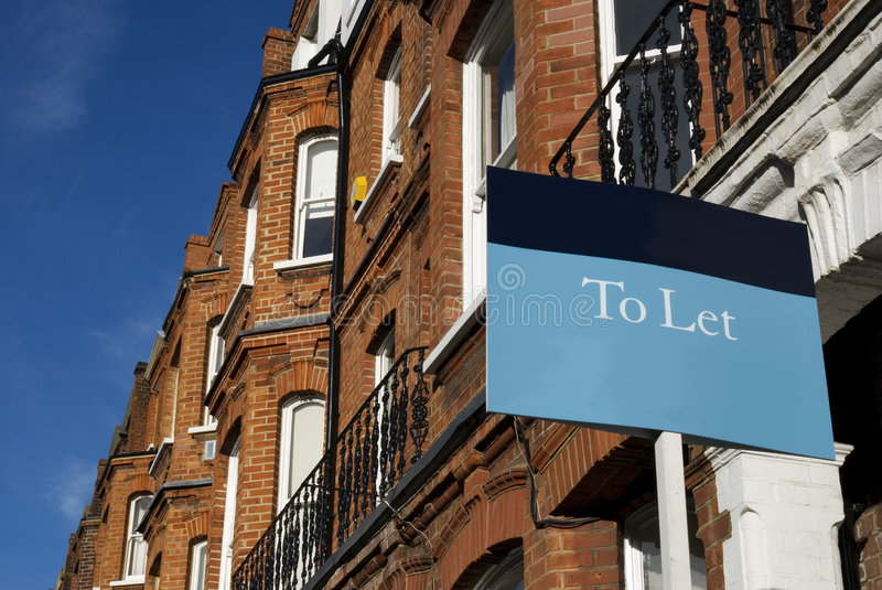 To Let. Townhouses with To Let sign and copy space. at Kensington area(West-London stock photos