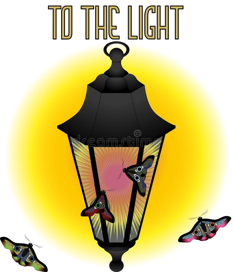 To the light Lantern and moths vector illustration