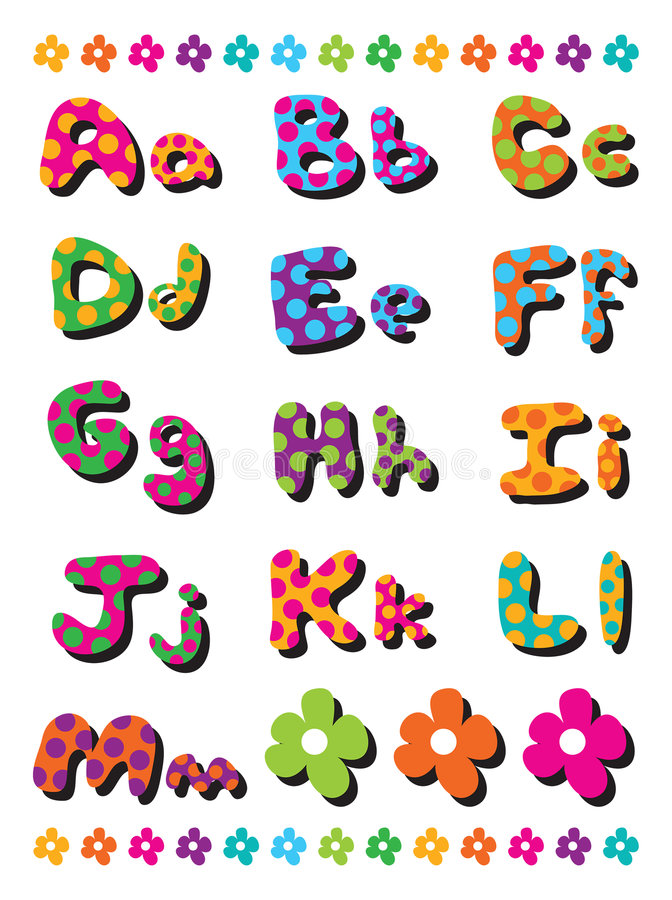 A to M polka dots alphabets. A to M funky polka dots alphabets - illustration vector illustration